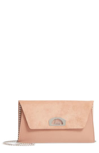 Christian Louboutin Vero Dodat Velour Suede & Leather Clutch - Beige at NORDSTROM.com