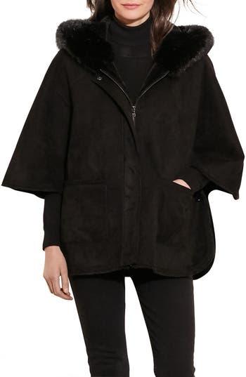 Women's Lauren Ralph Lauren Faux Shearling Cape Jacket, Size X-Small/Small - Black