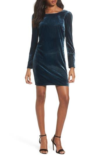Charles Henry Velvet Sheath Dress, Blue