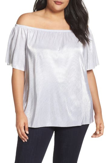 Plus Size Women's Soprano Metallic Off The Shoulder Top, Size 1X - Metallic