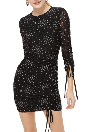 Topshop Star Print Ruched Body-Con Dress, US (fits like 0) - Black