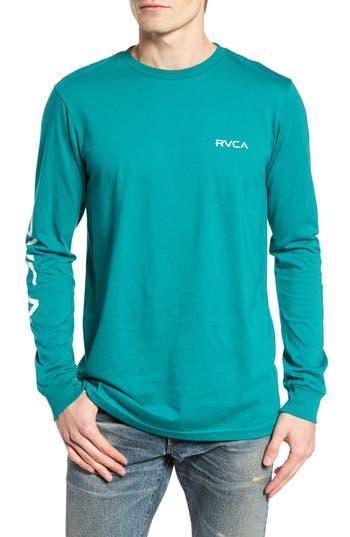 Men's Rvca Glitch Logo T-Shirt, Size Medium - Blue/green