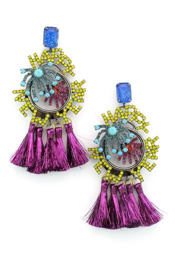 Women's Elizabeth Cole Happy New Year Crystal & Tassel Drop Earrings