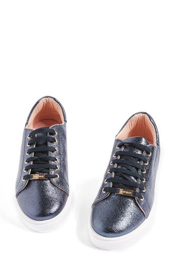 Topshop Cosmo Metallic Lace-Up Sneaker - Blue