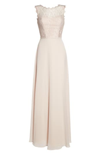 Hayley Paige Occasions Lace & Chiffon A-Line Gown, Pink