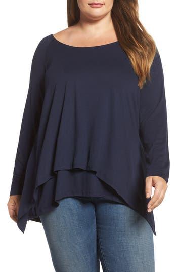Plus Size Women's Bobeau Layered Knit Top, Size 1X - Blue