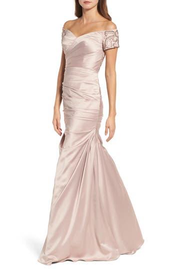 La Femme Beaded Back Off the Shoulder Gown