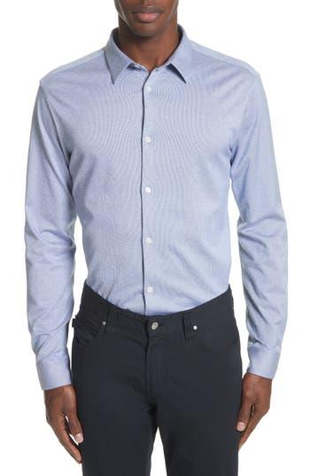 Men's Emporio Armani Trim Fit Yarn Dyed Sport Shirt, Size Medium - Blue