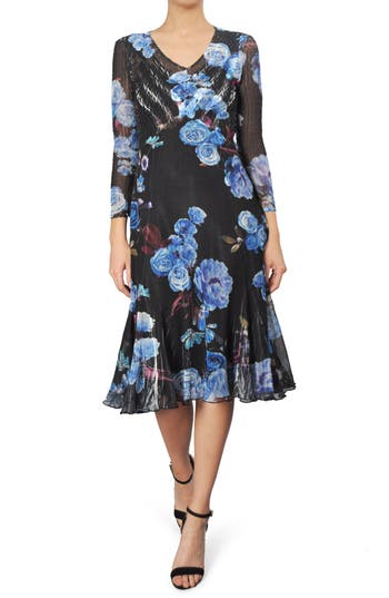 Komarov Print Chiffon A-Line Dress, Blue