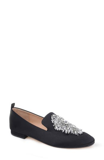 Women's Badgley Mischka Salma Crystal Embellished Loafer, Size 5 M - Black