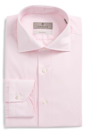 Men's Canali Regular Fit Solid Dress Shirt, Size 15 - Pink