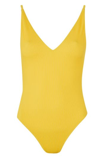 Topshop Plunge Wide Rib One-Piece Swimsuit, US (fits like 0) - Yellow