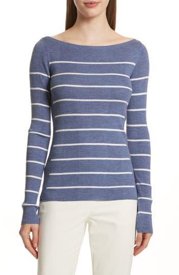 Theory Merino Wool Stripe Sweater, Blue