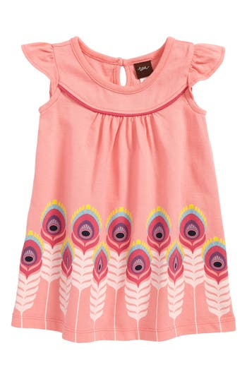 Infant Girls Tea Collection Feather Graphic Shift Dress
