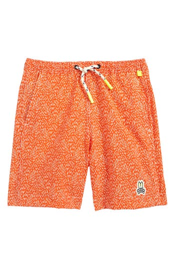 Boy's Psycho Bunny Dot Print Board Shorts, Size XS (5-6) - Orange