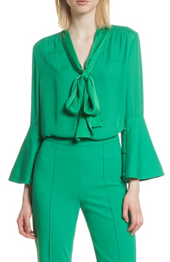 Women's Alice + Olivia Meredith Tie Neck Silk Blouse, Size Medium - Green