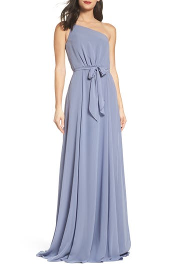 Amsale One-Shoulder Chiffon A-Line Gown, Grey