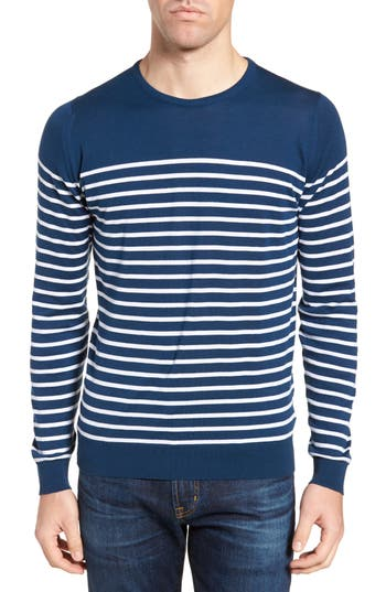 Men's John Smedley Stripe Sweater, Size Small - Blue