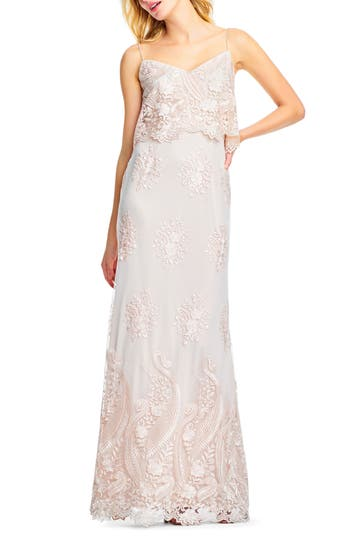 Adrianna Papell Embroidered Popover Tulle Gown, Beige