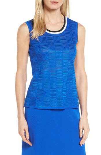Ming Wang Contrast Neck Basket Weave Tank, Blue