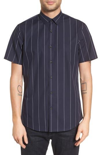 Calibrate Slim Fit Stripe Short Sleeve Sport Shirt, Blue