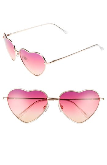 Junior Women's Bp. Heart Shaped 58Mm Sunglasses - Gold/ Pink