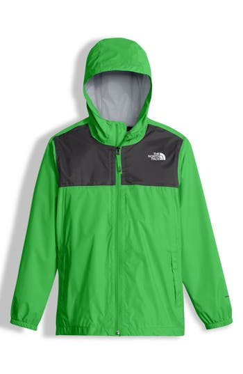 Boy's The North Face Zipline Hooded Rain Jacket, Size S (7-8) - Green