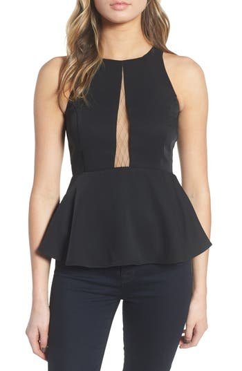 Women's Trouve Date Peplum Top, Size Medium - Black