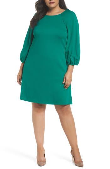 Plus Size Women's Eliza J Balloon Sleeve Shift Dress, Size 14W - Green