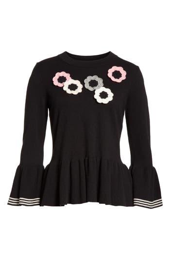 Women's Kate Spade New York Crochet Flower Peplum Sweater, Size X-Small - Black