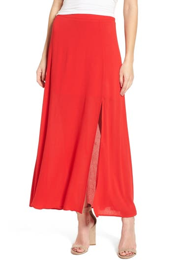 Women's Soprano Slit Maxi Skirt, Size X-Small - Red