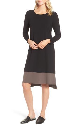 Eileen Fisher Colorblock Jersey Shift Dress, Black