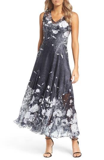 petite women's komarov lace-up back maxi dress with wrap, size medium p - black