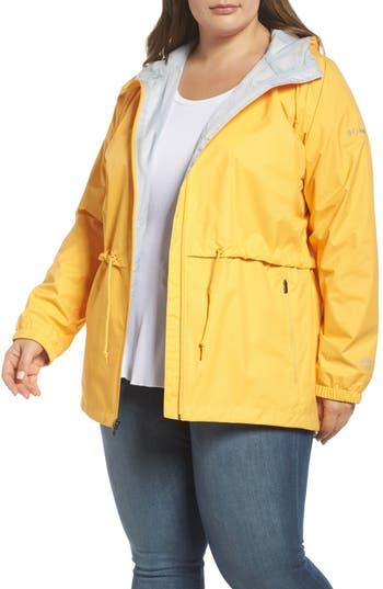 Plus Size Women's Columbia 'Arcadia' Hooded Waterproof Casual Jacket, Size 1X - Yellow
