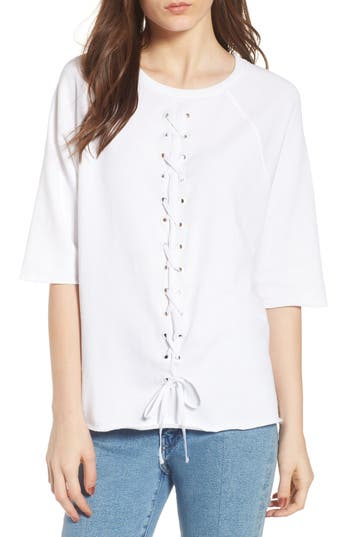 South Parade Julie - Vertical Eyelets Terry Top, White