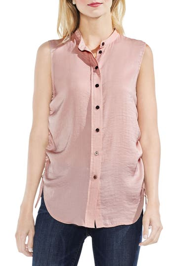 Women's Vince Camuto Sleeveless Side Drawstring Rumple Blouse, Size X-Small - Pink