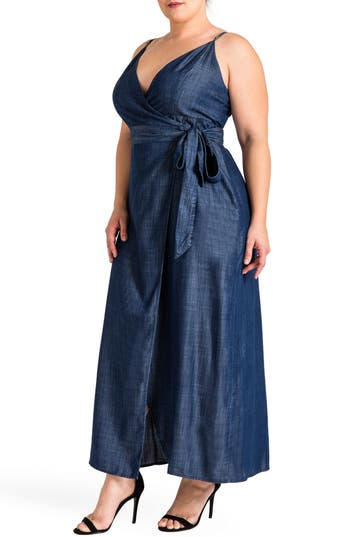 Plus Size Women's Standards & Practices Jodi Wrap Maxi Dress, Size 1X - Blue
