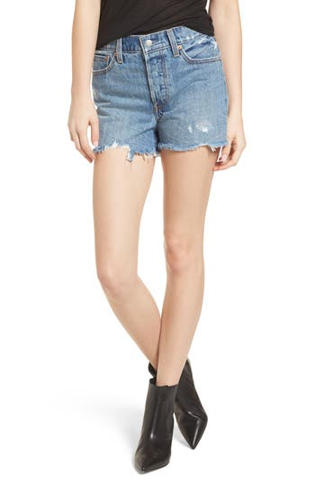 Womens Levis Wedgie High Waist Cutoff Denim Shorts Size 27  Blue