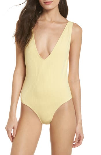 Static Vermont One-Piece Swimsuit, Yellow