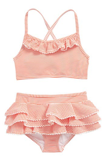 Girl's Mini Boden Ruffle Two-Piece Swimsuit, Size 4-5Y - Orange