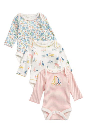 Toddler Girls Mini Boden Farmyard 3Pack Bodysuits