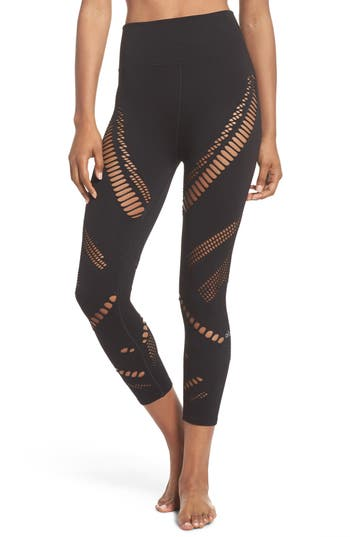 Alo Seamless Radiance High Waist Capri Leggings, Black
