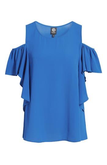 Women's Bobeau Cold Shoulder Ruffle Sleeve Top, Size X-Small - Blue