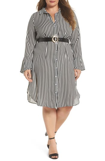 plus size women's lost ink belted stripe shirtdress