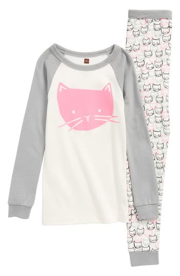 Toddler Girls Tea Collection Kitty Fitted TwoPiece Pajamas