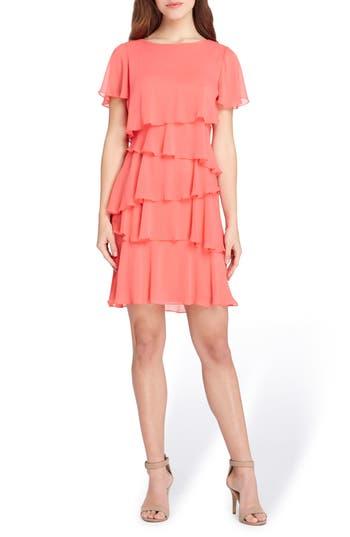 Women's Tahari Yoryu Chiffon Ruffle Dress, Size 2 - Coral