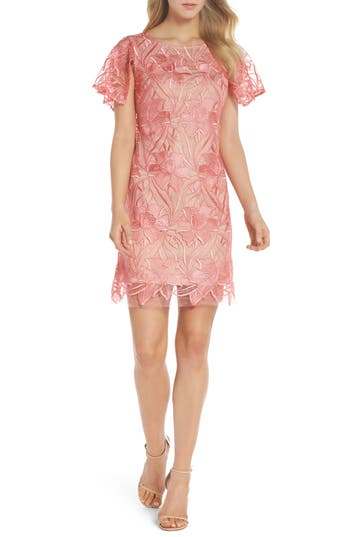 Taylor Dresses Floral Mesh Lace Shift Dress, Coral