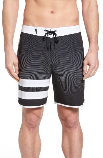 Hurley Phantom Static Block Party Board Shorts, Black