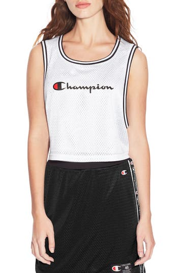 Champion Reversible Crop Mesh Tank, White