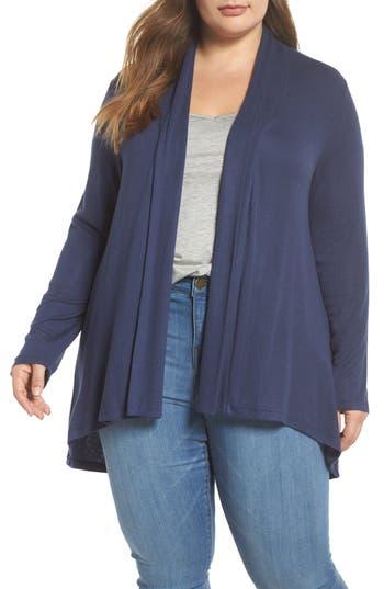 Plus Size Women's Bobeau Shirred Sleeve Cardigan, Size 1X - Blue